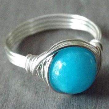 Blue Jade Ring, Wire Wrap Ring, Blue Stone Ring, Ocean Blue Ring, Silver Jade Ring, Blue Jade Jewelry, Gift for Niece, Homemade Jewelry