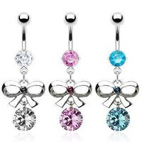 Sexy Dangling Navel Belly Ring with Bow Tie and CZ
