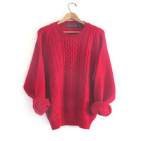 90s red wool sweater. oversized wool sweater. boyfriend sweater / size XL