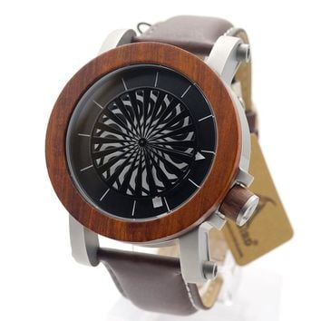 BOBO BIRD M20 Antique Kinetic Art Mechanical Skeleton Watch With Ebony Rosewood Bazel Waterproof Leather band Wristwatches