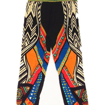 Black Ethnic Print Trousers