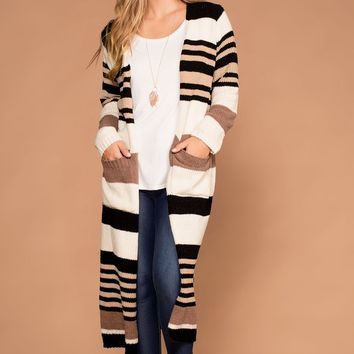 Allison Taupe Stripe Knit Sweater Cardigan