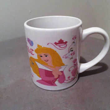 "Vintage Early 1990s Disney Sleeping Beauty Mug ""Let the magic begin"" / Aurora Disney Coffee Mug / Disney Princess Mug / Girls Mug"