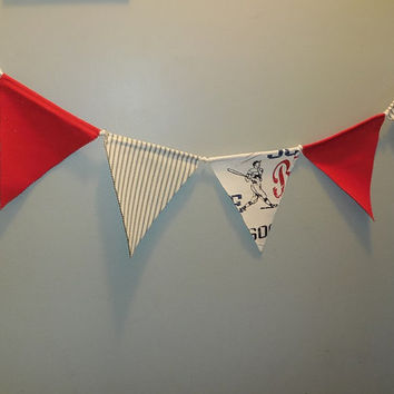Red, White And Blue Sports Themed Bunting For Childs Room Decor