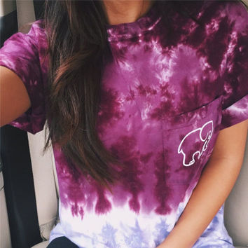 Women Ivory Ella Gradient Color Cartoon Elephant Printed Short Sleeve Top Shirt T-Shirt _ 4676