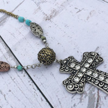 Cross Necklace Cross Rustic Western Necklace Gothic Necklace Religious Necklace Christian Necklace Turquoise Necklace Beads Pendant Jewelry