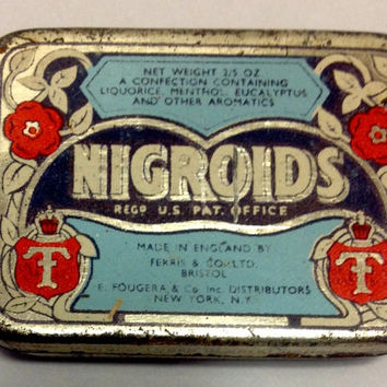 Antique Nigroids Licorice Candy Tin - Nice Graphics