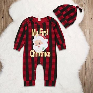 Newborn Baby Boy Girl First Christmas Clothes Romper Jumpsuit Plaids Outfits USA