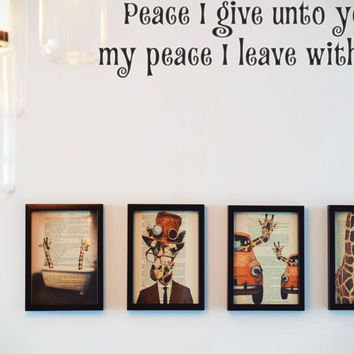 Peace I give unto you, my peace I leave with you Style 15 Vinyl Decal Sticker Removable