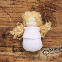 Waldorf pocket doll with socks body - Blond hair - toy for toddlers - baby doll - girl doll - Christmas gift