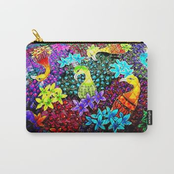Colored Jungle Birds Carry-All Pouch by Azima
