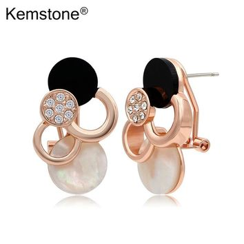 Awesome Opal Shell Pierced Stud Earrings Gold-color Fancy Jewelry Accessories for Teen Girl Women