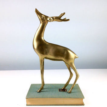 Vintage Large Brass Deer, Brass Figurines, Brass Animals, Brass Reindeer, Brass Buck, Cabin Decor, Hunting Lodge Decor, Large Brass Figure