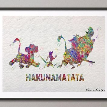 DIY Original watercolor Lion King HakunaMatata Quote canvas painting wall art poster print Home Decoration pictures wall hanging