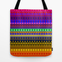 Rainbow Stripes Pattern Tote Bag by Hippy Gift Shop