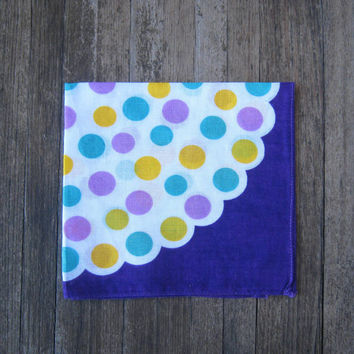 Groovy 1960s Mod purple polka dot hankie - Retro purple handkerchief with lavender, turquoise & yellow polka dots - Mod Hankie
