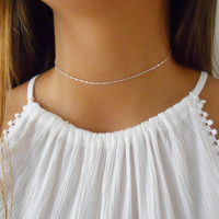 Simple Silver Choker, 925 Sterling Silver Chain Necklace With Tiny Squares, Choker Necklace, Layering Silver Choker, #336