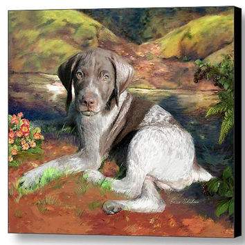 Custom Pet Portraits German Shorthair Dog Painting - German Shorthair Canvas Print