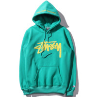 """""""Stussy""""Fashion Retro embroidery letters hooded thick sweater men and women couple models Green"""