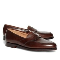Men's Peal & Co. Dark Brown French Pebbled Leather Saddle Strap Penny Loafers