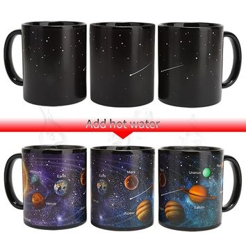 Newest Style Ceramic Mug Changing Color Cup Milk Coffee Mug Friends Present Student Breakfast Cup Star Solar System mugs