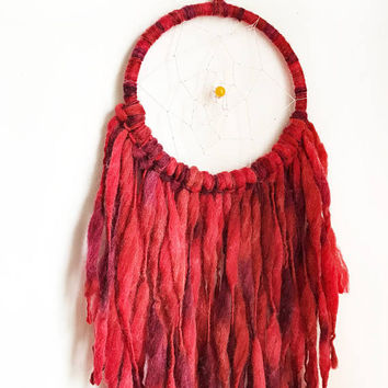Ombre Red Large Dream Catcher Wall Hanging   Bohemian Dream Catcher   Wall Hanging   Home Decor   Gypsy Style   Dreamcatcher Mobile