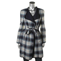 Jones New York Womens Plaid Open Front Basic Coat