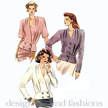 1990s Double Breasted Peplum Blouse Shirt Top Front Pleats Raised V-Neckline Misses Womens Very Easy VOGUE 7838 UNCUT Vintage Sewing Pattern