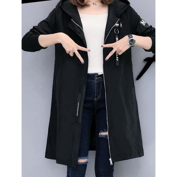 Womens Casual Hooded Zipped Up Jacket in Black