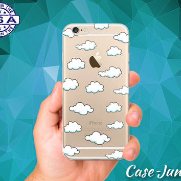 Cloud Pattern White Blue Sky Tumblr Clouds iPhone 5, iPhone 5C, iPhone 6, and iPhone 6 +, iPhone 6s, iPhone 6s Plus and iPhone SE Clear Case