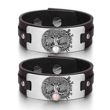 Tree of Life Celtic Powers Love Couples White Pink Simulated Cats Eye Brown Leather Tag Bracelets