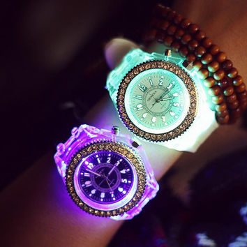 Cute Rhinestone Light up Jelly Watch