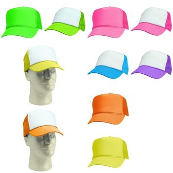DALIX Neon Trucker Caps Adjustable Snapback Hat (Green, White, Hot Pink, Orange, Yellow)
