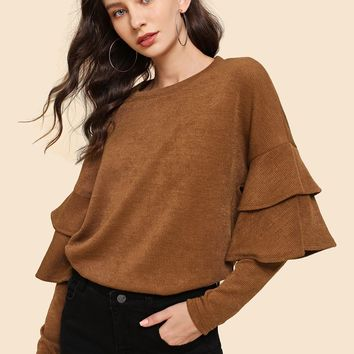 Ruffle Detail Tunic Pullover
