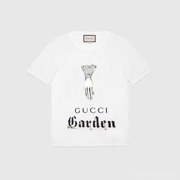"""Gucci Firenze"" Unisex Casual Fashion Retro Sketch God's Hand Letter Print Short Sleeve Couple T-shirt Top Tee"