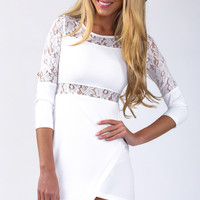 PURELY LACE BODYCON DRESS IN WHITE