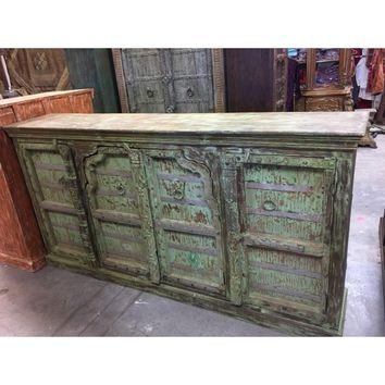 Shabby Chic Vintage Arched Doors Farmhouse Eclectic Rustic Distressed Green Sideboard