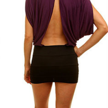 Cut Out Back Draped Blouson Dress in Purple & Black