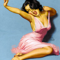 Pin-Up Girl Wall Decal Poster Sticker - Woman in Pink Dress - Black Hair Dark Raven Pinup Pin Up