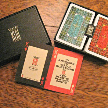 KEM Playing Cards in Box, Mosaic Design, Double Deck, Complete, Original Plastic Cards, Hard Plastic Case