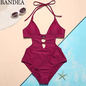 BANDEA Sexy one piece swimsuit women cut out swimwear women purple solid bathing suit backless swim wear bodysuit trajes de bano