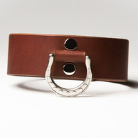 Leather Bondage Collar - Chestnut Brown Latigo - Steel Lead Ring -  Spotted Motif