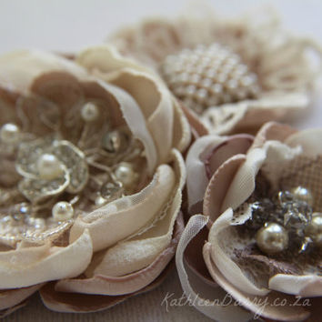 R300 Hair flower, Vintage lace, Dress sash, brooch corsage, belt accessory