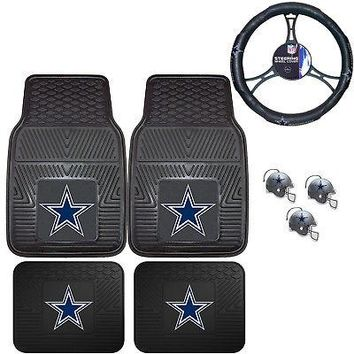 Licensed Official NFL Dallas Cowboys Floor Mats Steering Wheel Cover & Air Freshener Set
