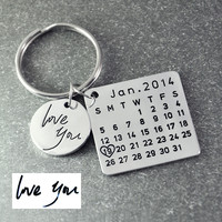 Fathers Day Sale Personalized Calendar Keychain Signature calendar key chain Hand Stamped Calendar Date highlighted with heart