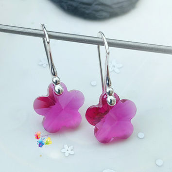 Fuchsia Crystal Flower Earrings, Sterling Silver Earrings, Crystal Jewellery, Gift for Her, Flower, Crystal Earrings, Dark Pink, girlfriend