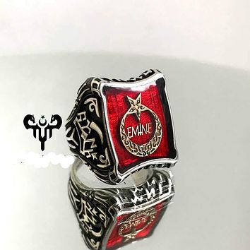 Customizable crescent star shield red enamel sterling silver mens ring