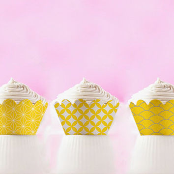 Printable Cupcake Wrappers Yellow Japanese Patterns Template DIY Cupcake Holders INSTANT DOWNLOAD