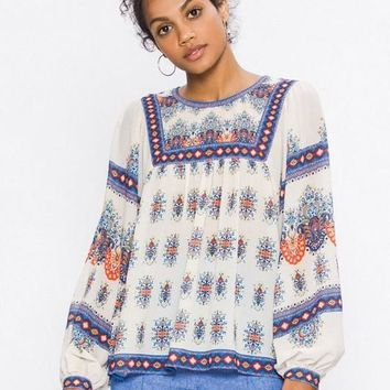 Piece Print Peasant Top
