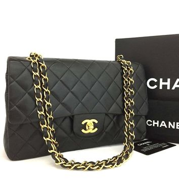 CHANEL Double Flap 25 Quilted CC Logo Lambskin w/Chain Shoulder Bag Black/k148